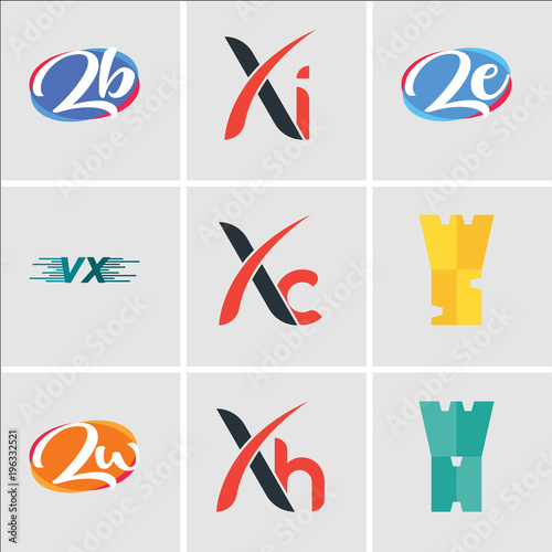 Stampe  Set Of 9 simple editable icons such as WH, Xh, Zu, WS, Xc, VU or UV, ze or ez, X