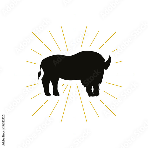 Valokuvatapetti Retro standing bison silhouette logo