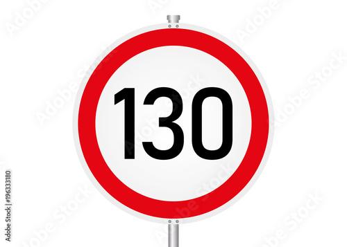 Fotomural Geschwindigkeitsbegrenzung - 130