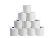canvas print picture - Stack of toilet papers isolated on white background.