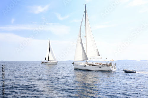 Poster Zeilen Sailing in Mediterranean sea, Croatia