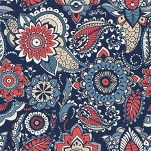 Floral Paisley Seamless Pattern With Colorful Folk Oriental Motifs Or Mehndi Elements On Blue Background. Motley Decorative Vector Illustration For Textile Print, Wallpaper, Wrapping Paper, Backdrop.