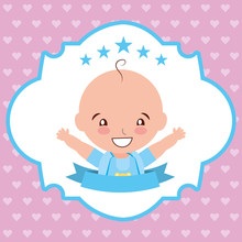 Baby Shower Card Label With Ha...