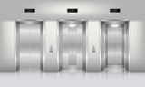Realistic elevator in office building, Interior concept, Vector, Illustration