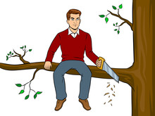Man Sawing Tree Branch And Sit...