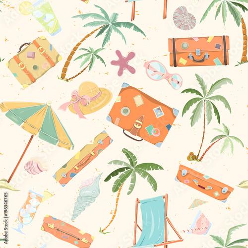 Cotton fabric Seamless summer beach pattern.