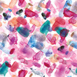 Seamless pattern of pink, blue and purple watercolor blots for background.