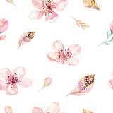 Boho bezszwowe akwarela wzór piór i dzikich kwiatów, liści, gałęzi kwiatów, ilustracji, miłości i piór, artystycznej dekoracji kwiat wiosny - 196349751
