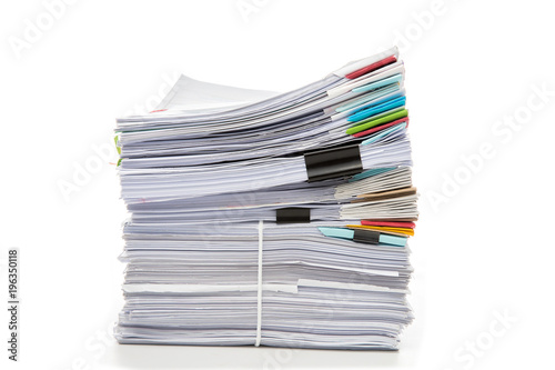 Fotomural  Stack of Documents isolated on white background. Documents pile.