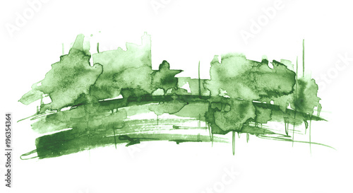 Watercolor art illustration. Beautiful green splash of paint, stain, background. Silhouettes industrial city zone, urban landscape. Watercolor logo, drawing on a white background.