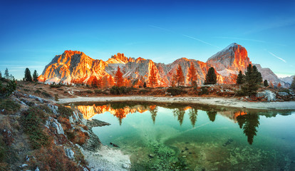 Tofana di Rozes mountain ridge. Region Trentino Alto Adige, South Tyrol, Veneto, Italy. Dolomite Alps, famous travel destination in Europe. Vicinity of village Cortina D'Ampezzo and lake Limides.