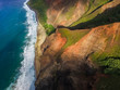 Aerial view of The Nā Pali Coast state Park in Hawaii.