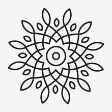Simple Mandala Shape For Coloring. Geometric Ornament. Vector.