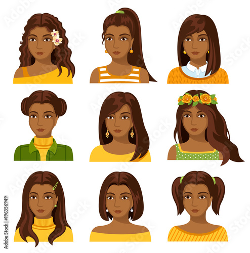 Set Of African Woman Faces With Various Hairstyle Collection Of