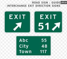 Road Sign. Guide. Interchange Exit Direction Signs.  Vector Illustration On Transparent Background