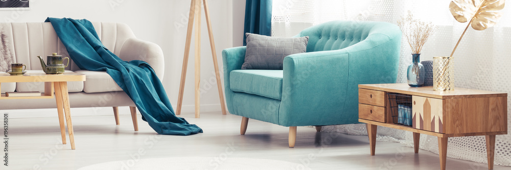 Fototapety, obrazy: Turquoise armchair in living room