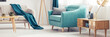 canvas print picture - Turquoise armchair in living room