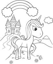 Unicorn Castle Vector Illustration Art