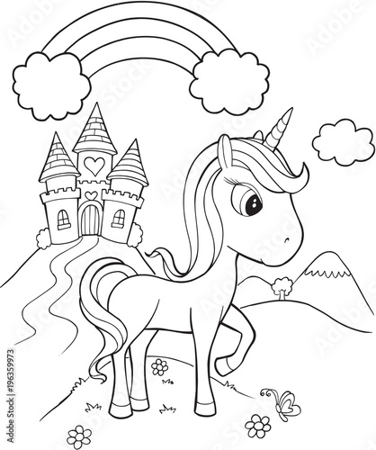 Poster Cartoon draw Unicorn Castle Vector Illustration Art