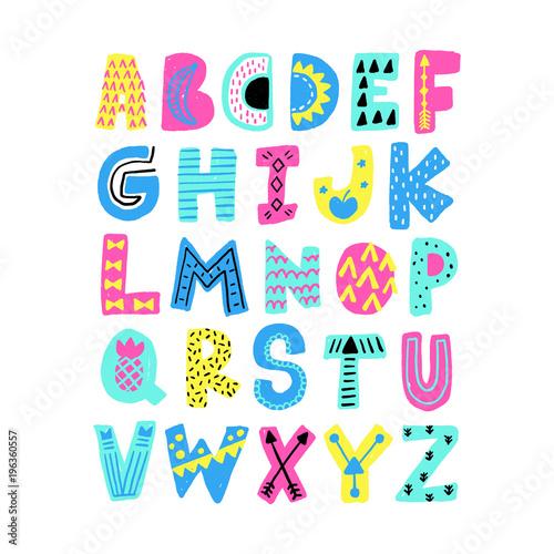 Plakat abecadło - alfabet vector-summer-alphabet