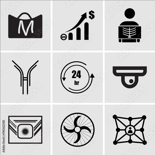 Stampe  Set Of 9 simple editable icons such as hub and spoke, ceiling fan, Airforce, fir