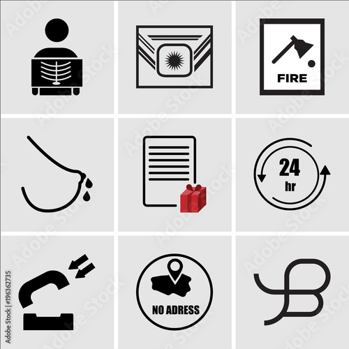 Stampe  Set Of 9 simple editable icons such as beta, no address, inbound, 24 hr, wishlis