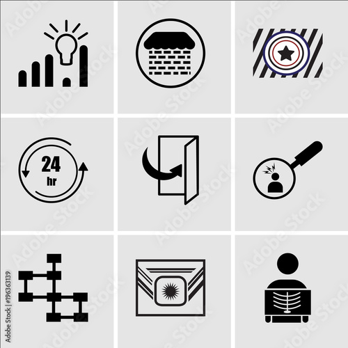 Stampe  Set Of 9 simple editable icons such as radiologist, Airforce, database schema, p