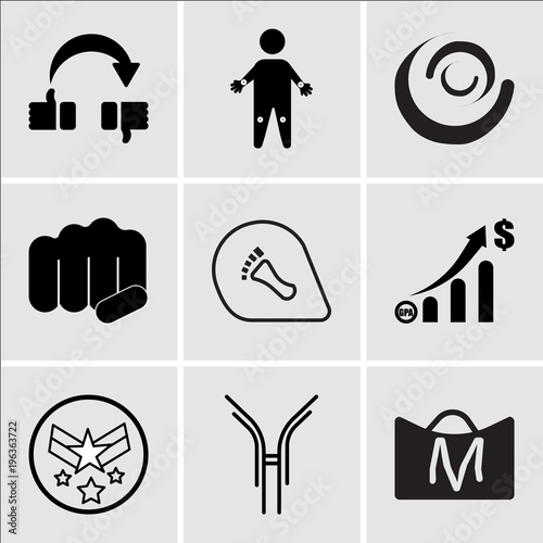 c0c1e7c0 Set Of 9 simple editable icons such as shop cart m, antibody, air force