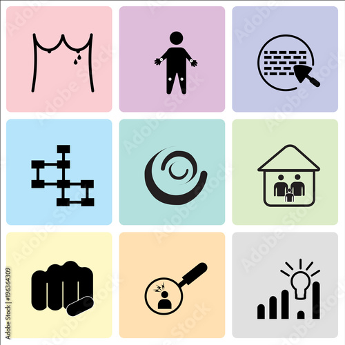 Stampe  Set Of 9 simple editable icons such as pictive analytics, pain points, fist bump