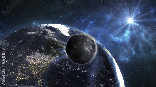 Earth with Moon in the space. Beautiful blue sunrise. Elements of this image furnished by NASA.