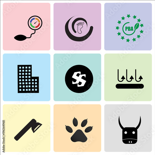 Stampe  Set Of 9 simple editable icons such as yak, Dog or cat paw print, fire dept, bre