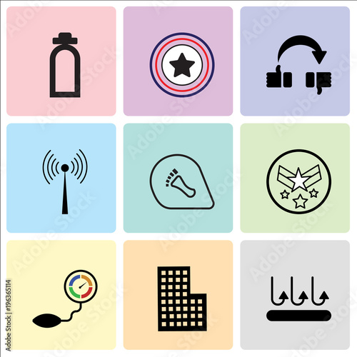 Stampe  Set Of 9 simple editable icons such as breathable, City building, pressure senso