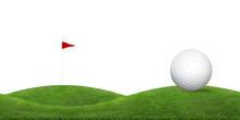 Golf Ball On Green Grass Hill ...