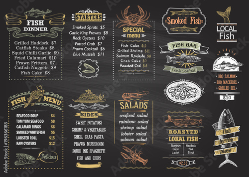 Obraz Fish menu chalkboard desigs set - fototapety do salonu