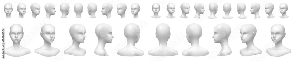 Fototapeta Isolated vector set of faceless mannequin busts and heads.