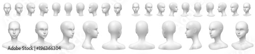 Fotografia, Obraz Isolated vector set of faceless mannequin busts and heads.