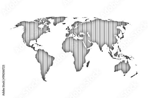 Staande foto Wereldkaart Weltkarte auf Wellblech