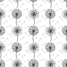 Monochrome Dandelion Flowers And Seeds Seamless Pattern