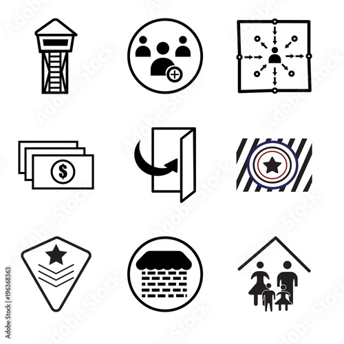 Stampe  Set Of 9 simple editable icons such as our family, brick and mortar, air force,