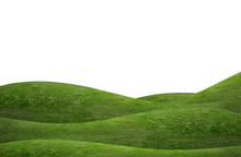 Green Grass Hill Background Isolated On White. Outdoor Of Green Meadow Background.