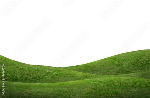 Valokuva Green grass hill background isolated on white