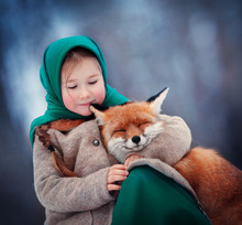 Little Girl With Fox In The Wo...