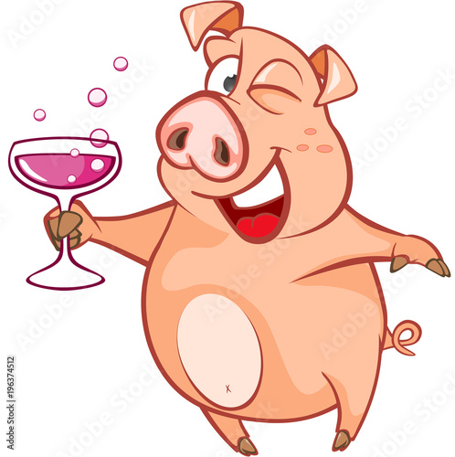 Wall Murals Baby room Illustration of a Cute Pig. Cartoon Character