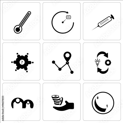 Stampe  Set Of 9 simple editable icons such as dimmable, procurement, generic person, om