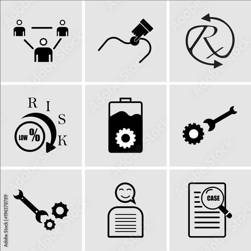 Stampe  Set Of 9 simple editable icons such as case study, chatbot, equipment, operation