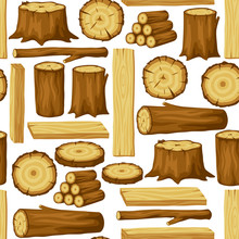 Seamless Pattern With Wood Log...