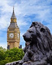 Big Ben Viewed From Trafalgar Square, London, England, UK