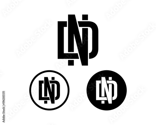 initial name letter nd or dn sign symbol icon flat logo vector set