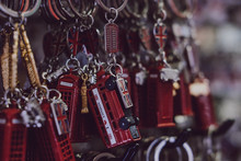 London Red Post Box And Red Bus Souvenir Key Chains On Sale.