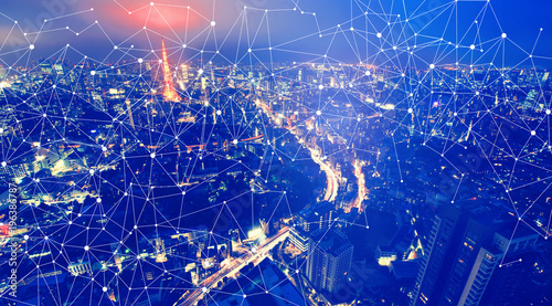 Photo  Aerial view of Tokyo Japan with technology geometric polygonal lines
